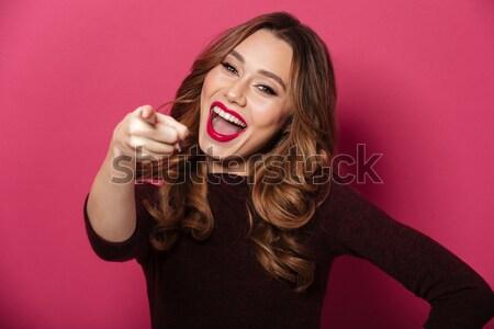 Foto stock: Retrato · feliz · encantado · menina · seis