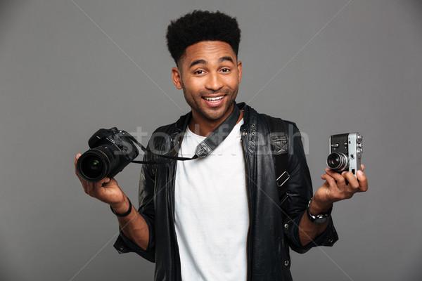 肖像 楽しい アフロ アメリカン 男 ストックフォト © deandrobot