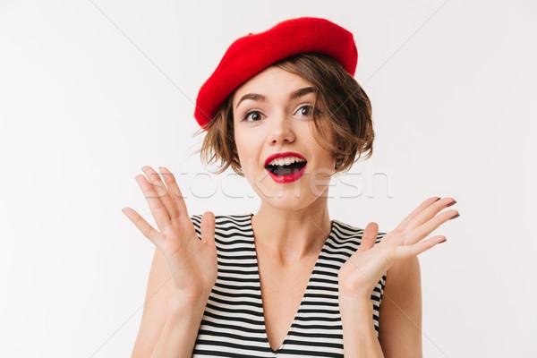 портрет счастливым женщину красный берет кричали Сток-фото © deandrobot