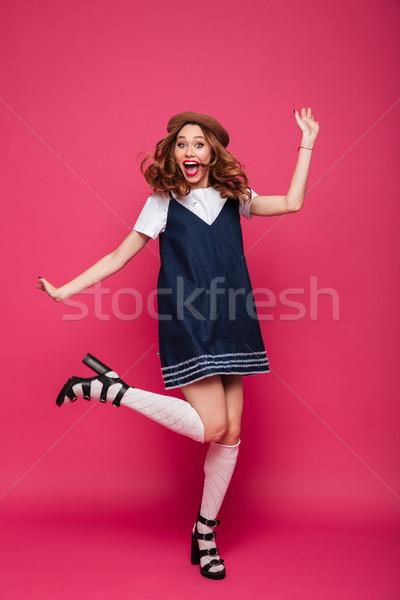 Vicces párizsi hölgy kalap ugrik izolált Stock fotó © deandrobot