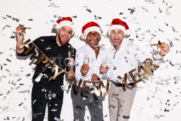 кричали счастливым друзей с Новым годом Сток-фото © deandrobot