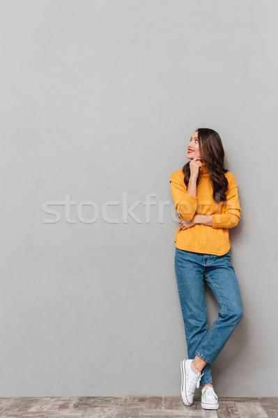 Obraz uśmiechnięty brunetka kobieta sweter Zdjęcia stock © deandrobot