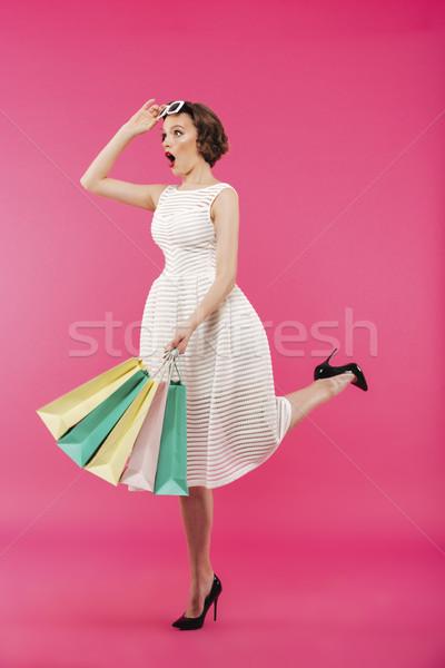Portret geschokt meisje jurk Stockfoto © deandrobot