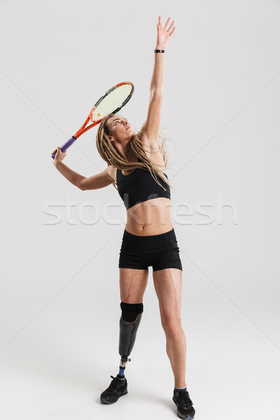 Young disabled sportswoman tennis player Stock photo © deandrobot