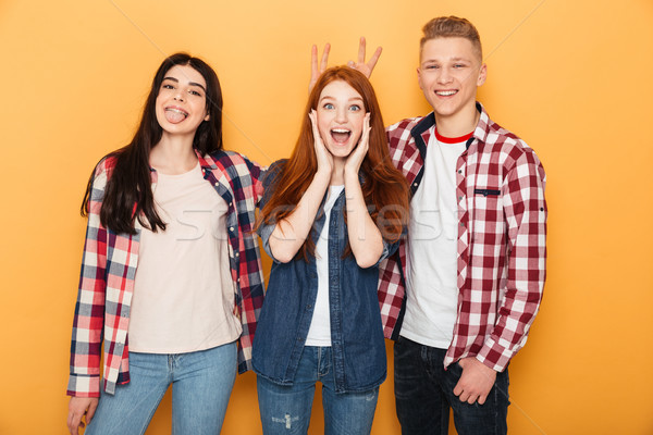 Group of happy school friends having fun together Stock photo © deandrobot