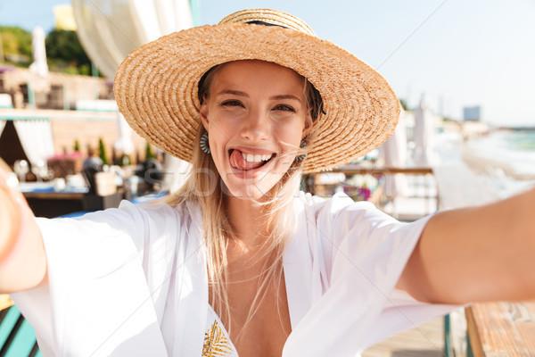 幸せ 若い女の子 夏 帽子 水着 ストックフォト © deandrobot