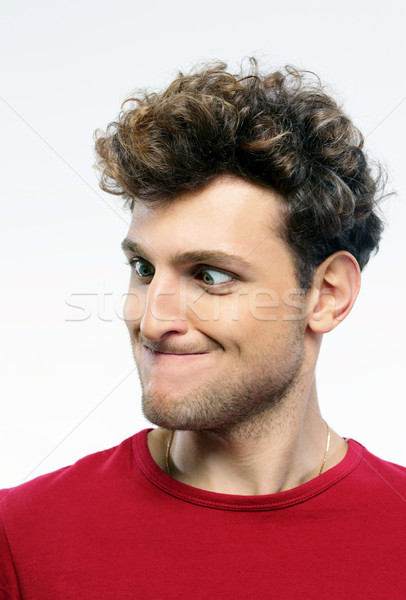 Foto stock: Retrato · moço · engraçado · cara · homem · olhos