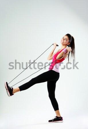 Kobieta fitness zwycięstwo portret odizolowany Zdjęcia stock © deandrobot