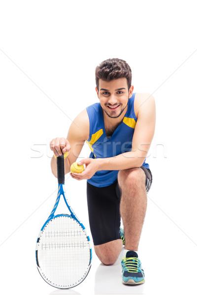 Portré boldog férfi teniszező izolált fehér Stock fotó © deandrobot