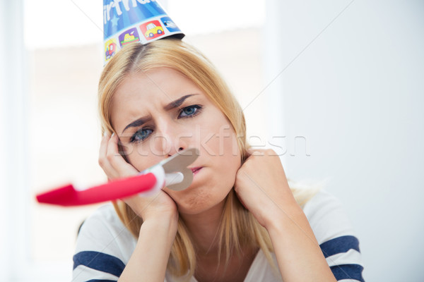 Beautiful woman blows whistle Stock photo © deandrobot