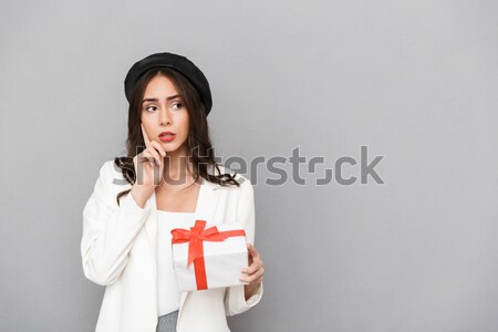 Woman sitting at the table with georgian flag Stock photo © deandrobot