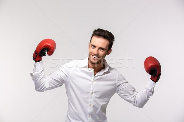 üzletember visel piros boxkesztyűk portré boldog Stock fotó © deandrobot