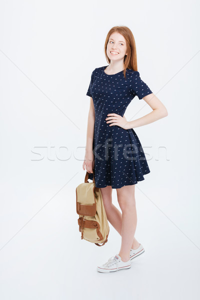 Foto stock: Feliz · mulher · vestir · mochila