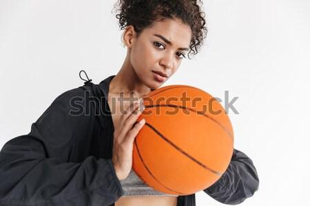 Сток-фото: серьезный · красивой · молодые · фитнес · девушки · оранжевый