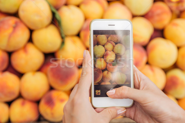 Hands holding mobile phone and taking pictures of fresh peaches Stock photo © deandrobot
