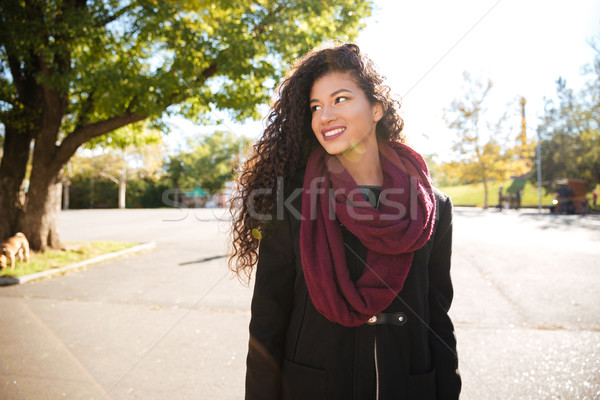 Happy young dark skinned curly woman wearing scarf smiling Stock photo © deandrobot