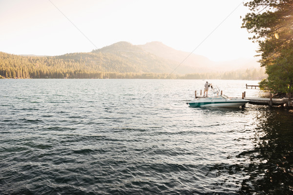 Beautiful morning view on a lake Stock photo © deandrobot