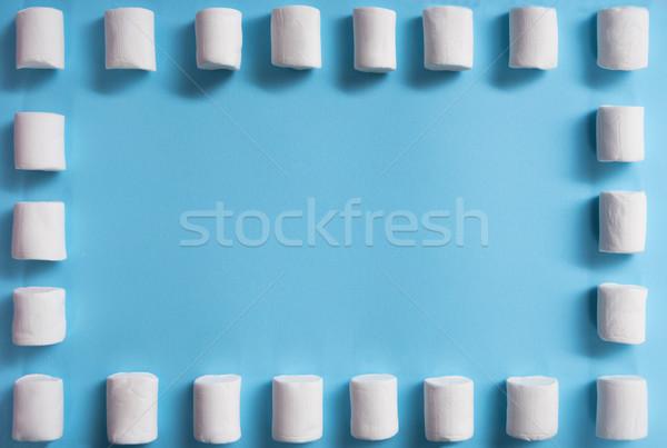 Top foto witte Blauw tabel Stockfoto © deandrobot