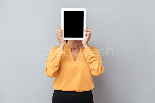 Business woman ukrywanie za ekranu garnitur Zdjęcia stock © deandrobot