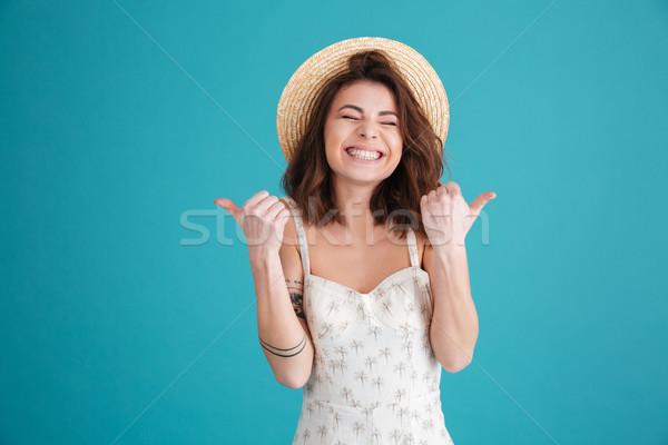 幸せ 若い女の子 着用 麦わら帽子 ストックフォト © deandrobot