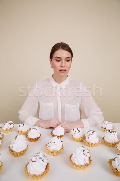 удивительный молодые Lady позируют сидят Сток-фото © deandrobot
