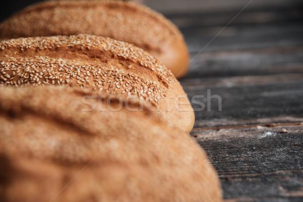 Foto stock: Pão · escuro · mesa · de · madeira · padaria · imagem · café
