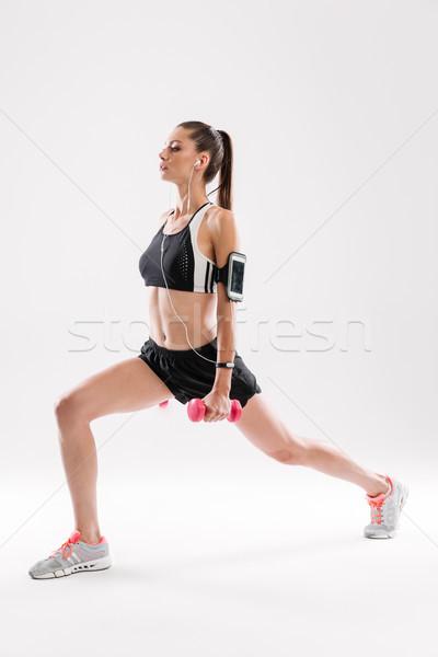 Portret zagęszczony kobieta fitness odzież sportowa Zdjęcia stock © deandrobot