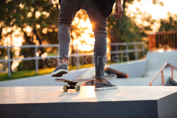 Close up of skateboarder in action Stock photo © deandrobot