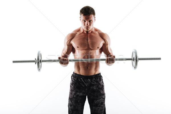 Portré erős izzadt sportok férfi fekete Stock fotó © deandrobot