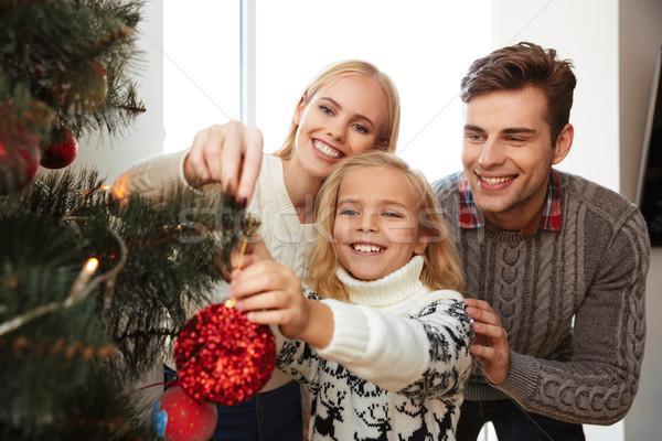 Stockfoto: Foto · gelukkig · gezin · kerstboom · home · familie