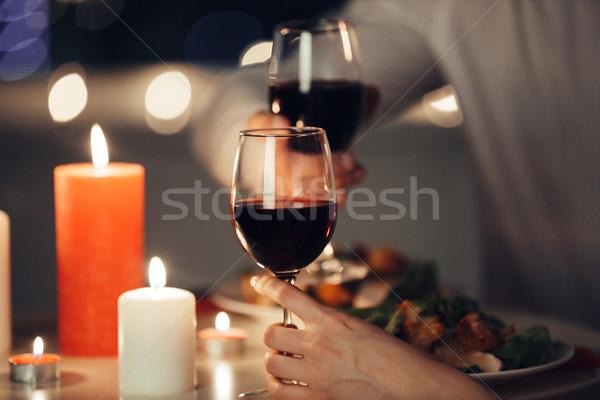 Fotoğraf aşıklar romantik akşam yemeği ev genç Stok fotoğraf © deandrobot