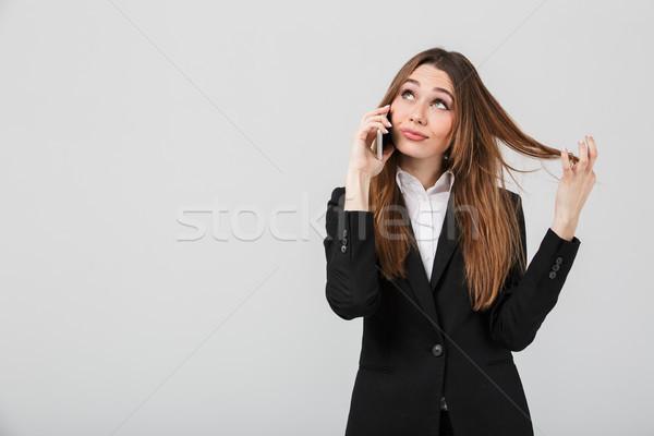Genç güzel bayan konuşma Stok fotoğraf © deandrobot