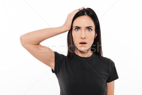 Portret geschokt ontdaan vrouw hand Stockfoto © deandrobot