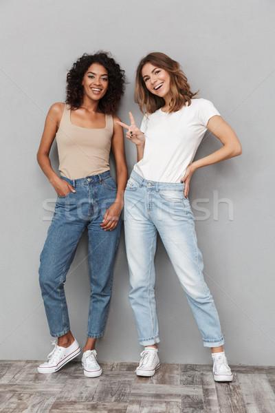 Stock fotó: Teljes · alakos · portré · kettő · derűs · fiatal · nők · áll