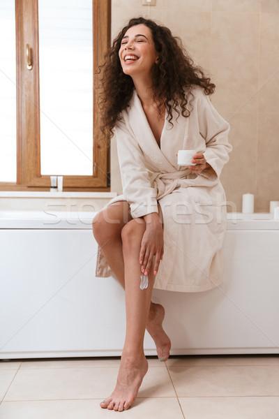 Nő fürdőszoba lábak fotó gyönyörű boldog Stock fotó © deandrobot