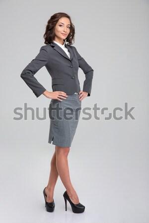 Businesswoman making selfie photo on smartphone Stock photo © deandrobot
