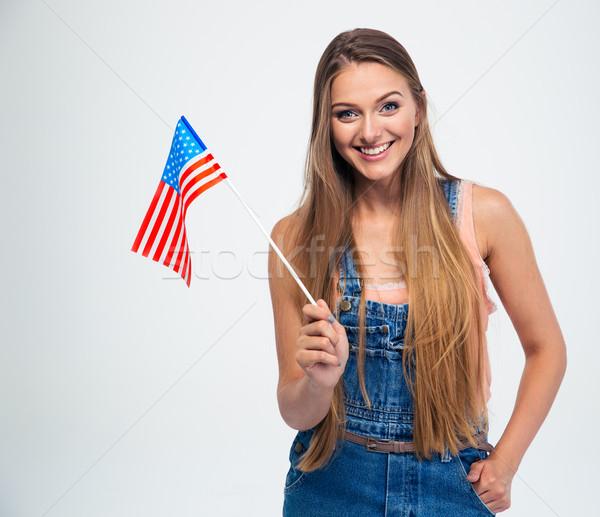 Mujer sonriente EUA bandera sonriendo mujer hermosa Foto stock © deandrobot