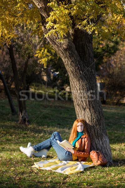 Figyelmes nő olvas könyv álmodik fiatal Stock fotó © deandrobot