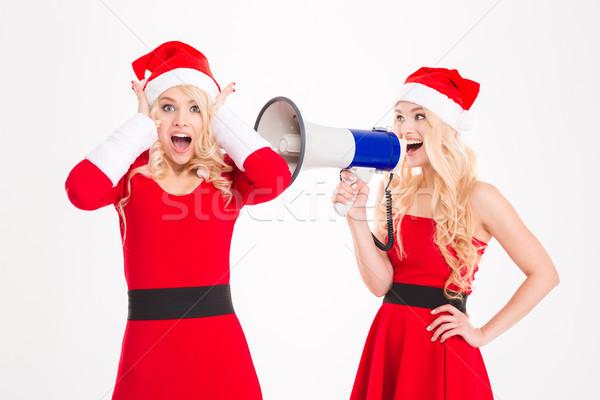 Twee zusters tweelingen megafoon Stockfoto © deandrobot