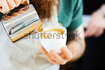 Barista melk beker koffie Stockfoto © deandrobot