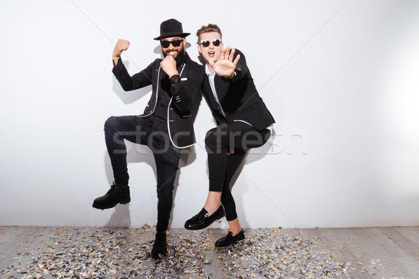 Dois moda homem dança branco festa Foto stock © deandrobot
