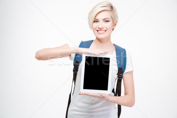 улыбаясь женщины студент экране Сток-фото © deandrobot