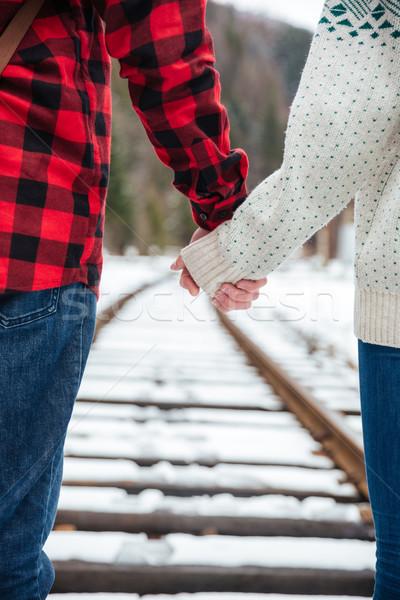 Couple marche chemin de fer image homme nature Photo stock © deandrobot