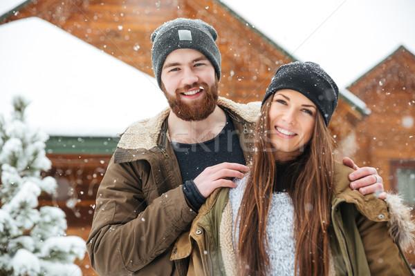 カップル 木製 コテージ 冬 肖像 ストックフォト © deandrobot