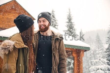 Pár áll fából készült kunyhó nevet boldog Stock fotó © deandrobot