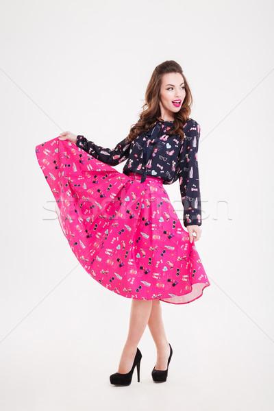 魅力的な 若い女性 明るい ピンク スカート ストックフォト © deandrobot