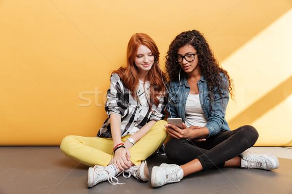 Kettő mosolyog nők fülhallgató zenét hallgat okostelefon Stock fotó © deandrobot