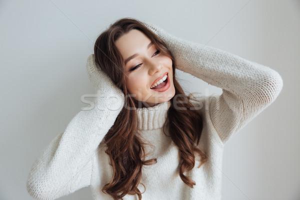 Szépség modell pulóver kezek fej csukott szemmel Stock fotó © deandrobot