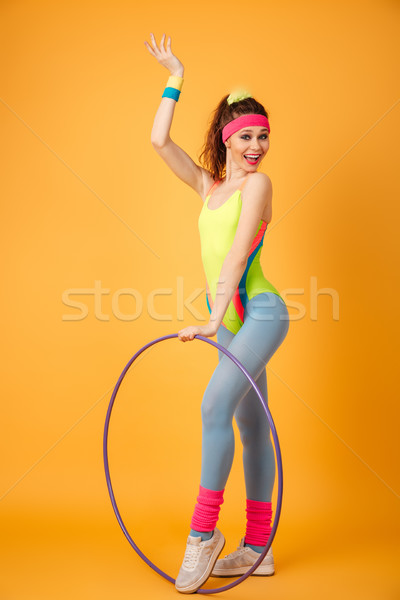 Gelukkig vrouw atleet hoelahoep exemplaar ruimte Stockfoto © deandrobot