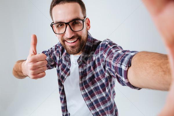 Foto stock: Feliz · barbudo · homem · polegar